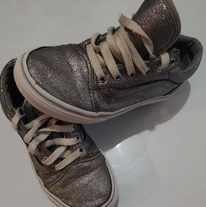 Van's girls 2y silver glitter hightops